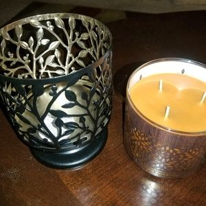 Bath and Body 3 wick candle and holder